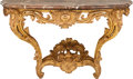 Furniture , A Pair of Italian Louis XV-Style Carved Giltwood Console Tables with Rouge Marble Tops, mid-18th century. 33-3/4 h x 56 w x ... (Total: 2 Items)