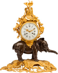 A Louis XV-Style Patinated and Gilt Bronze Trumpeting Elephant Mantel Clock in the Style of Saint-Germain Marks to