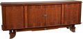 Furniture : French, A French Art Deco Marquetry Buffet in the Style of Jules Leleu,circa 1930. 37 h x 90-1/2 w x 21-1/2 d inches (94.0 x 229.9 ...