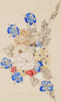 Fine Art - Work on Paper:Watercolor, Annie French (British, 1872-1965). Flowers. Watercolor andink on paper. 9 x 15 inches (22.9 x 38.1 cm) (sight). Signed ...