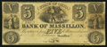 Obsoletes By State:Ohio, Massillon, OH- Bank of Massillon $5 circa 1851...