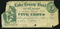 Obsoletes By State:Ohio, Painesville, OH- Unknown Issuer at the Lake County Bank 5¢ Nov. 1,1862 Wolka 2168-01 Remainder. ...