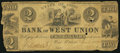 Obsoletes By State:Ohio, West Union, OH- Bank of West Union $2 June 1, 1839. ...