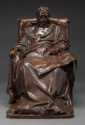 Sculpture, Vincenzo Vela (Italian, 1820-1891). The Last Days of Napoleon. Bronze with brown patina. 22 inches (55.9 cm) high. Inscr...