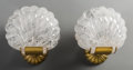 Decorative Arts, Continental:Other , A Pair of Carved Rock Crystal and Polished Bronze Sconces. 10 h x 9-1/4 w x 6-1/8 d inches (25.4 x 23.5 x 15.6 cm) (overall)... (Total: 2 Items)