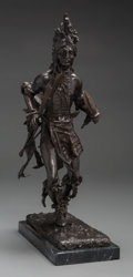 Fine Art - Sculpture, American, American School (20th Century). Indian Dancer. Bronze withbrown patina. 20 inches (50.8 cm) high on a 1 inch (2.5 cm) h...