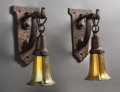 Lighting:Sconces, Six Arts and Crafts Single-Light Bronzed Iron Wall Sconces with Steuben Gold Iridescent Glass Shades. 12-1/2 inches high x 5... (Total: 12 Items)
