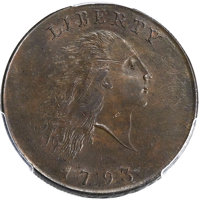 1793 1C Chain, AMERICA, S-2, B-2, High R.4, MS63 Brown PCGS Secure. CAC....(PCGS# 35435)