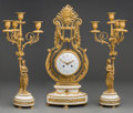 Decorative Arts, French:Other , A Three-Piece Louis XVI-Style Gilt Bronze Lyre Clock Garniture,late 19th century. Partially effaced marks to face: Tiffan...(Total: 3 Items)