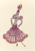 Fine Art - Work on Paper:Watercolor, Erté (Romain de Tirtoff) (Russian/French, 1892-1990). LaCleopatra, costume design for Les Filles, circa 1926. Gouacheo...