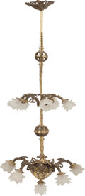 Decorative Arts, Continental:Lamps & Lighting, A Beaux Arts Polished Bronze Eleven-Light Stairwell Chandelier,late 19th-early 20th century. 70 inches high x 24 inches dia...(Total: 11 Items)