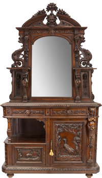 An American Renaissance Revival Carved Oak Mirrored Buffet with Marble Top, circa 1880 37 h x 52 w x 23 d inches (
