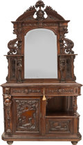 Furniture : Continental, Another American Renaissance Revival Carved Oak Mirrored Buffet with Marble Top, circa 1880. 39-3/4 h x 53 w x 21 d inches (... (Total: 3 Items)