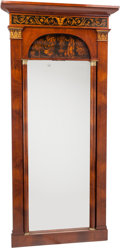 Furniture : Continental, A Large German Neoclassical Biedermeier Hall Mirror Attributed toPhillip Carl Hildebrandt, early 19th century. 85 h x 41 w ...