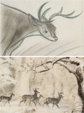 Animation Art:Concept Art, Bambi Concept/Storyboard Drawings Group of 2 (Walt Disney, 1942). ... (Total: 2 )