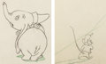 Animation Art:Production Drawing, Dumbo Timothy Mouse and Dumbo Animation Drawing/Color ModelGroup of 2 (Walt Disney, 1941). ... (Total: 2 Items)