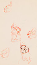 Animation Art:Concept Art, Bambi Animator Practice Drawings Sheets Group of 4 (Walt Disney, 1942). ... (Total: 4 Items)