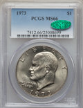 Eisenhower Dollars, 1973 $1 MS66 PCGS. CAC. PCGS Population: (140/0). NGC Census: (35/1). CDN: $400 Whsle. Bid for problem-free NGC/PCGS MS66. ...