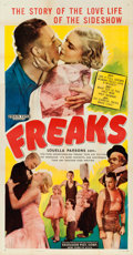"""Movie Posters:Horror, Freaks (Excelsior, R-1949). Flat Folded Three Sheet (41"""" X 81"""")....."""