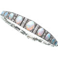 Estate Jewelry:Bracelets, Diamond, Opal, White Gold Bracelet . ...
