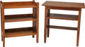 Furniture : American, A Stickley Brothers Oak Table and Quaint Bookcase, early 20thcentury. 30 h x 30 w x 18 d inches (76.2 x 76.2 x 45.7 cm) (ta...(Total: 2 Items)