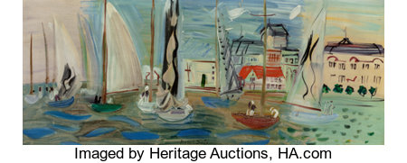 Raoul Dufy (French, 1877-1953)Régates à Deauville, 1936Oil on canvas13 x 33 inches (33.0 x 83.8 cm)Signed lower ...