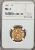 1882 $5 MS62 NGC. NGC Census: (2854/2006). PCGS Population: (1783/1075). MS62. Mintage 2,514,568. ...(PCGS# 8358)