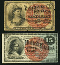 Fractional Currency:Fourth Issue, Fr. 1258 10¢ Fourth Issue Very Fine;. Fr. 1271 15¢ Fourth IssueAbout New.. ... (Total: 2 notes)