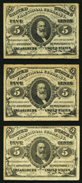 Fractional Currency:Third Issue, Three Fr. 1238 5¢ Third Issue Notes Very Fine or Better.. ...(Total: 3 notes)