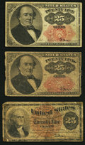 Fractional Currency:Fourth Issue, Fr. 1307 25¢ Fourth Issue Very Good;. Fr. 1308 25¢ Fifth Issue Fine;. Fr. 1309 25¢ Fifth Issue Good.. ... (Total: 3 notes)