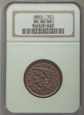 1851 1C MS64 Brown NGC. NGC Census: (138/172). PCGS Population: (176/102). MS64. Mintage 9,889,707