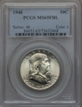 Franklin Half Dollars, (2) 1948 50C MS65 Full Bell Lines PCGS. ... (Total: 2 coins)