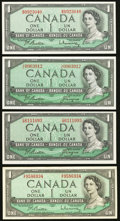 Canadian Currency: , BC-37a $1 1954. BC-37a-i $1 1954. BC-37b-i $1 1954, Two Examples.... (Total: 4 notes)