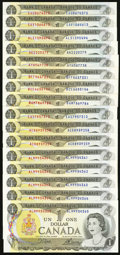 Canadian Currency: , An Assortment of Sixteen Canadian $1 Notes from the 1973 Issue, AllWith Three Letter Serial Number Prefixes.. ... (Total: 16 notes)