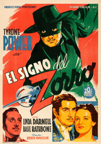 "The Mark of Zorro (20th Century Fox, 1944). First Release Spanish One Sheet (27.5"" X 39.5"")"