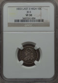 Bust Dimes, 1833 10C Last 3 High, JR-5, R.1, VF30 NGC. NGC Census: (2/23). PCGSPopulation: (0/12). ...