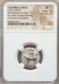 Ancients:Greek, Ancients: CALABRIA. Tarentum. Ca. 281-240 BC. AR stater or didrachm(6.43 gm). NGC XF 4/5 - 4/5. ...