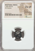 Ancients:Greek, Ancients: BRUTTIUM. Terina. Ca. 400-356 BC. AR drachm. NGC ChoiceVF, lt. smoothing....