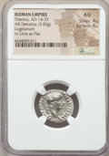 Ancients:Roman Imperial, Ancients: Tiberius (AD 14-37). AR denarius (3.83 gm). NGC AU 4/5 -4/5. ...