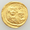 Ancients:Byzantine, Ancients: Heraclius (AD 610-641) & Heraclius Constantine (AD613-641). AV solidus (4.47 gm). AU - Surface Hairlines. ...