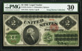 Large Size:Legal Tender Notes, Fr. 41b $2 1862 Legal Tender PMG Very Fine 30.. ...
