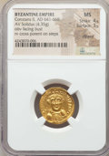 Ancients:Byzantine, Ancients: Constans II (AD 641-668). AV solidus (4.35 gm). NGC MS4/5 - 3/5, clipped. ...