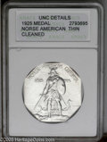 Commemorative Silver: , 1925 Medal Norse Thin Planchet MS60--Cleaned--ANACS, UNC Details. PCGS Population: (2/170). ...