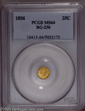 California Fractional Gold: , 1856 25C Liberty Round 25 Cents, BG-230, Low R.4, MS64 PCGS. PCGSPopulation (15/3). (#10415)...
