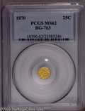 California Fractional Gold: , 1870 25C Liberty Octagonal 25 Cents, BG-763, Low R.4, MS62 PCGS.PCGS Population (31/19). (#10590)...
