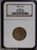 Half Cents: , 1825 1/2 C MS62 Brown NGC. B-2, C-2, R.1. Sharply struck, save fora touch of softness in a couple of the star centers, in ...