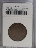 1795 1C Plain Edge--Clip--Fine 15 ANACS. S-76b, R.1. A 2% curved clip is centered at 4:30. An attractive golden-brown ex...