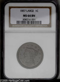 1857 1C Small Date MS64 Brown NGC. N-2, High R.1. Traces of the original orange color outline obverse elements and the M...