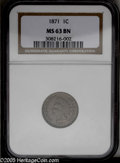 1871 1C MS63 Brown NGC. Golden-brown in color, this well struck Cent has detectable contact only on the Indian's jaw. Mi...