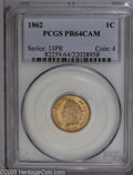 Proof Indian Cents: , 1862 1C PR64 Cameo PCGS. This Civil War era copper-nickel cent displays light golden-tan patina on nicely cameoed surfaces....
